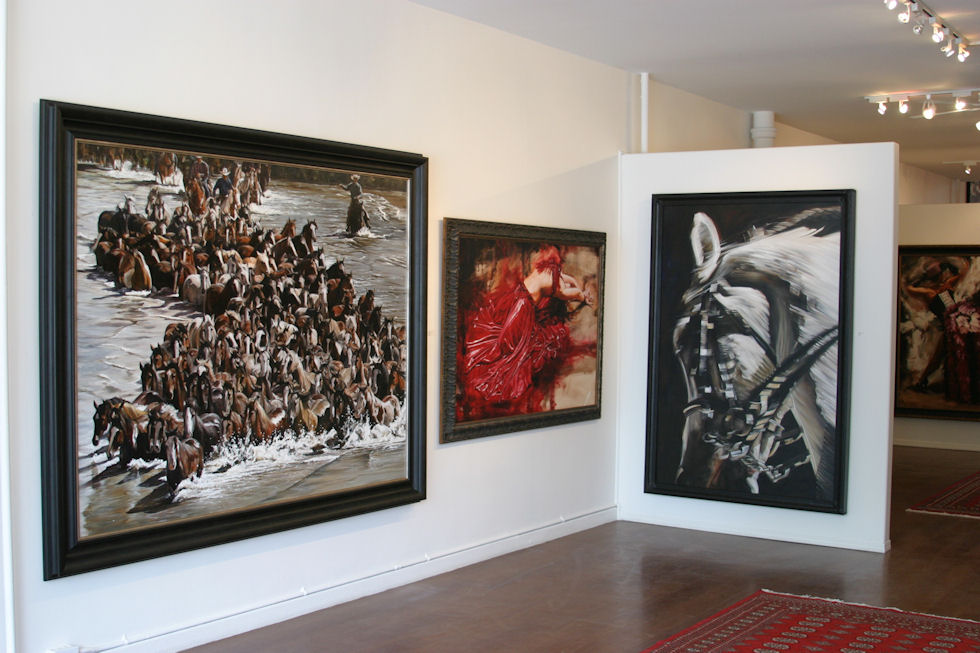 """Equine Tsunami"" 60X80"" oil on canvas, 2013 & ""Die for Love"" 40X60"" oil on canvas, 2012 & ""Unbounded"" 72X48"" oil on canvas, 2011"