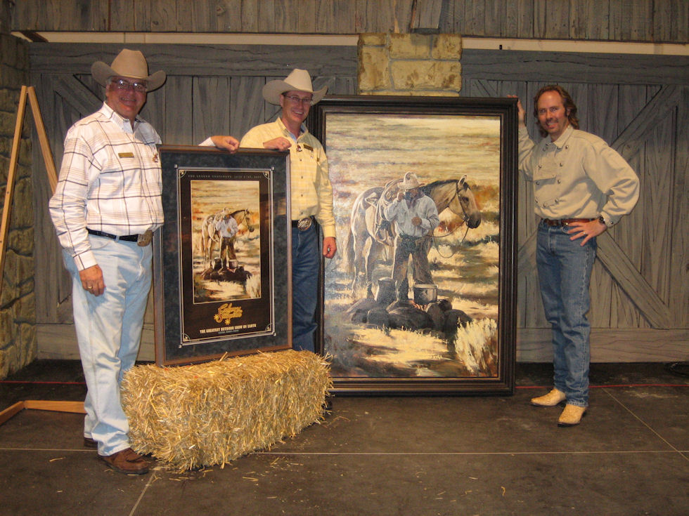 Unveiling of my 2007 Calgary Stampede Poster and original painting. With former Stampede<br>President George Brookman and former Stampede Marketing Director Ted Jeal, 2006.
