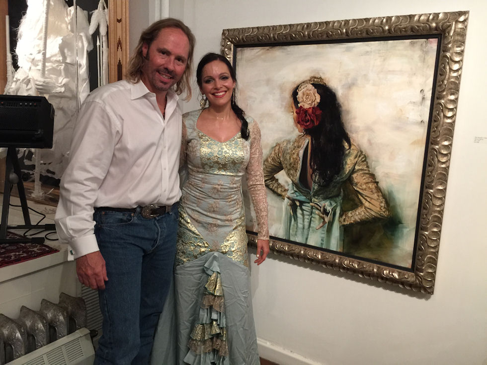 "With Flamenco Dancer (and model) Fiona Malena in front of ""The Matador's Mistress"" 40X40"" oil on canvas, 2015"