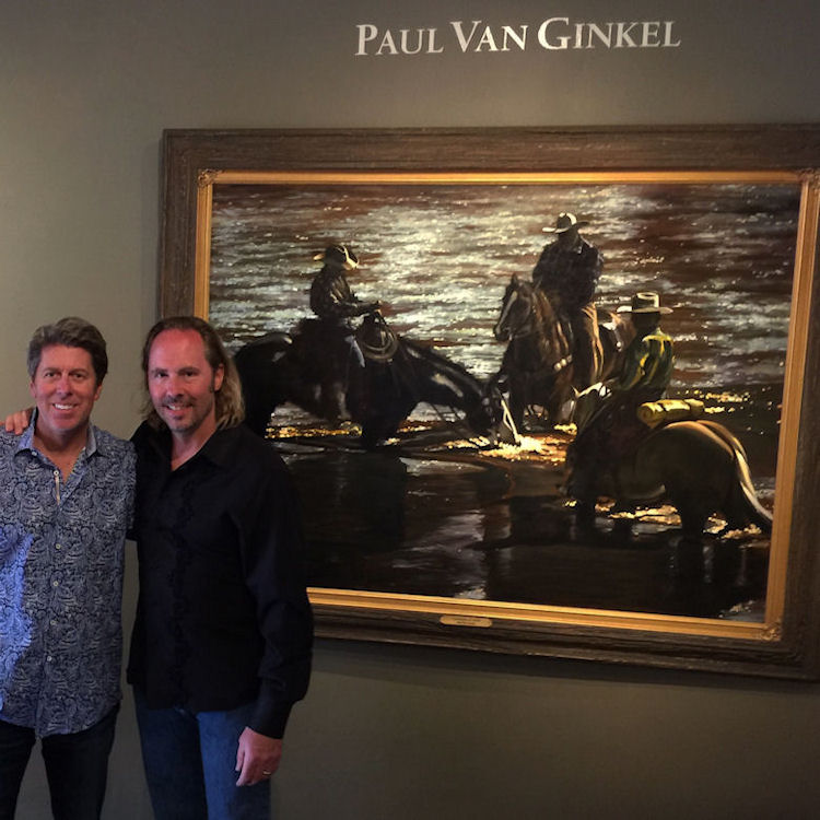 "With Santa Fe gallery owner Chris McLarry in front of ""Diamonds at Dusk"" 45X60"" oil on canvas, 2017"